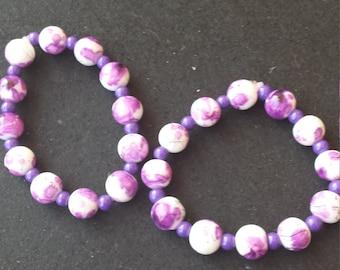 purple strecth braclet set
