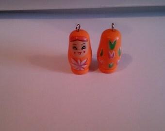 Babushka (Russian Doll) Figurine/pendant 1 1/4 inch high in orange