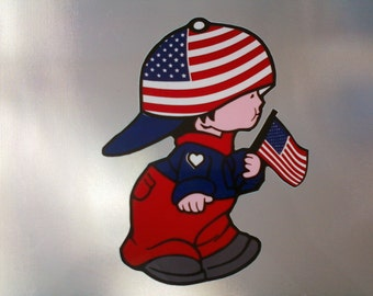 Boy  USA flag Decal Sticker