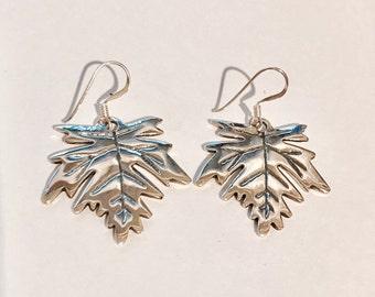 Sterling Silver Maple Leaf Earrings/Solid Silver/Dangly Earrings