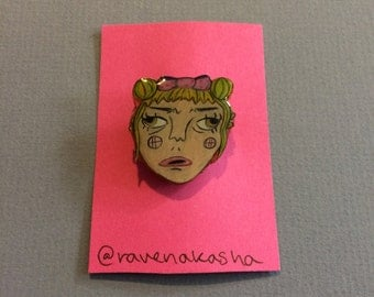 Shrinky Dink Pin - blonde baby