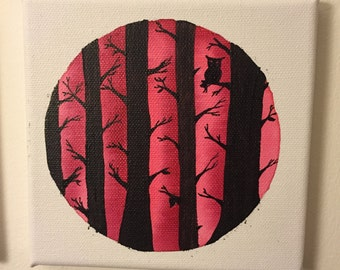 canvas circle painting forest