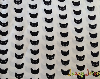 Cats cotton jersey knit fabric by half metre