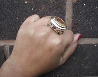 Large Tribal/ Aboriginal Inspired Sterling Silver Citrine Gemstone Ring - UK SIZE N.