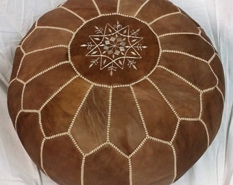 SALE ** STUFFED Moroccan Leather pouf ottoman with top embroidery in Brown