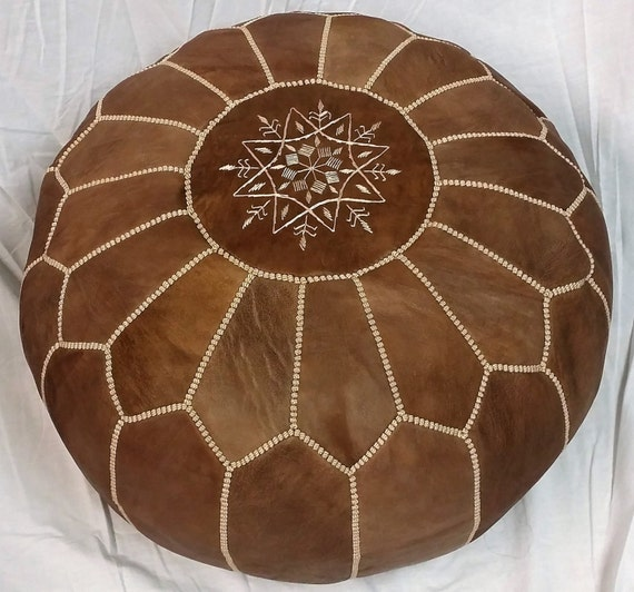 Sale Stuffed Moroccan Leather Pouf Ottoman With Top