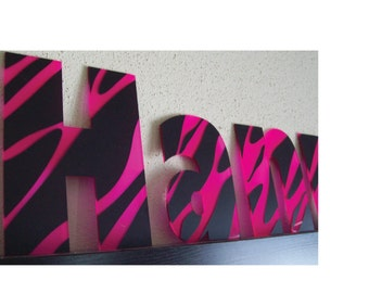 Name sign, name decal, wall decor, wall name, wall letters, zebra print, pink, magenta, gold, silver, white, black, baby girl, nursery