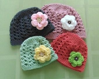 Baby Girl Crochet Hat, Beanie Hat, Baby Hat, Girl Hat, Newborn Hat, Photo Prop, Hat with Flowers, Women's Hat, Women's Crochet Hat