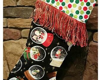Christmas stocking with fringe, Boho Christmas stocking, Gypsy stocking, Santa Claus, Funky shabby chic stocking, Christmas decor