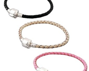 Genuine Leather Braided Charm Bracelet For European Charms Beads Available in Pink, Black or Cream