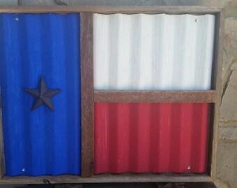 22x28 Americana Patriotic Texas Corragated Tin Flag