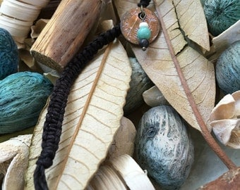 Black Hemp Cord Keychain with Penny and Turquoise Bead