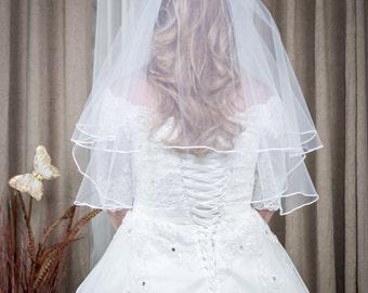2 Tier Wedding Veil Elbow Length Satin Edge with Comb, White or Ivory (SB-3)