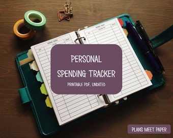 PRINTABLE Personal Spending Tracker