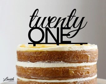 TWENTY ONE sans serif acrylic cake topper - Black or White