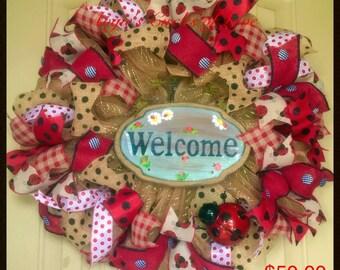 Welcome, Wreath, Ladybug, Housewarming, Gift