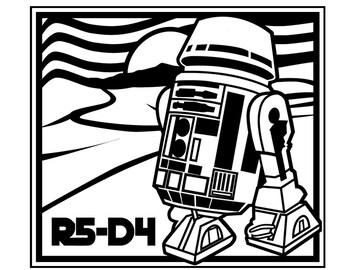 Vinyl Decal,R5-D4 Star Wars Droidl, comics, movies, games, science fiction, sci fi