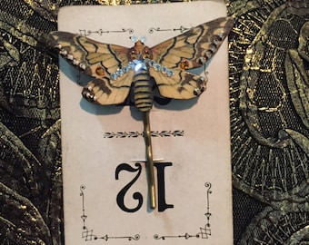 The Gypsy's Twinkling Moth Hair Pin Bobby Pin Swarovski Crystals