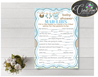 MAD LIBS baby shower game with boy clothes and blue color theme printable, digital Jpg Pdf, instant download - bc001