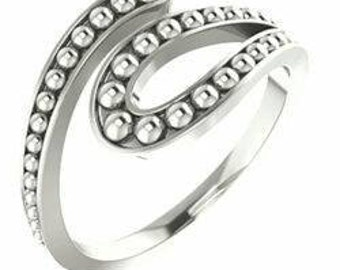 Sterling Silver Beaded Bypass Ring