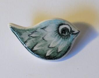 Collectible Ceramic Unique Handmade Drawing Pencil Bird Brooch Pin OOAK