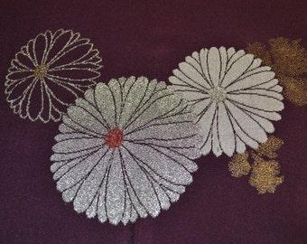 Deep Plum embroidered kimono silk chirimen 59 x 14