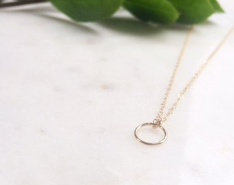 Gold Circle Necklace / Circle Necklace / Gold Hoop Necklace / Hoop Pendant Necklace
