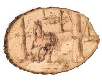 Horse Running Wood Burning