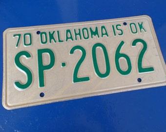 Vintage license plate Oklahoma 1970