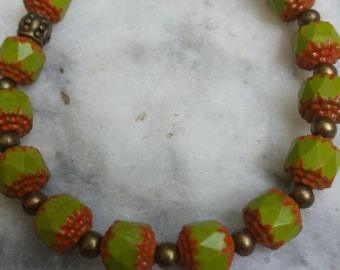 bracelet, beaded bracelet, vintage beads, green and orange