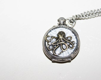 steampunk watch old mounted as a pendant with Octopussy pocket watch