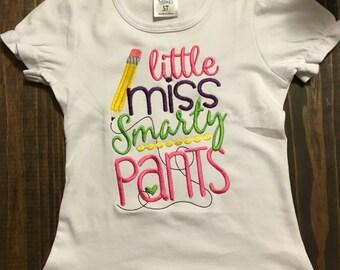 Back to School Little Miss Smarty Pants Applique Tee