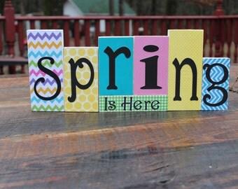 Reversible Spring/Easter Wooden Blocks
