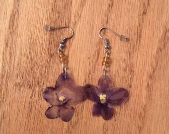 Pressed Flower Earrings (African violet)