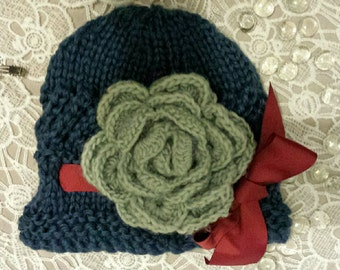 Missy Moo Knitted  Cloche Hat