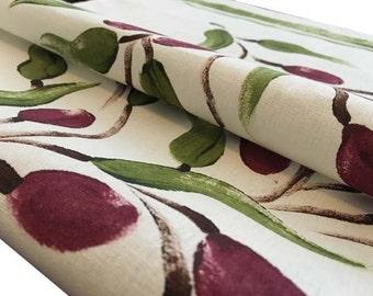 Olive tea towel, linen/ cotton, hand painted