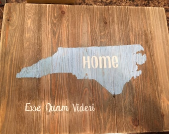 Rustic home state sign-NC