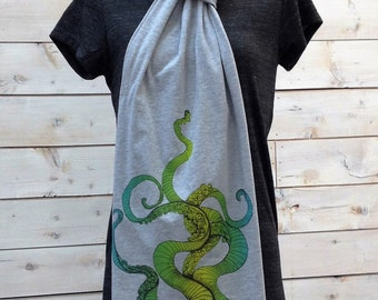 Tentacle design hand printed on heather grey American Apparel cotton scarf