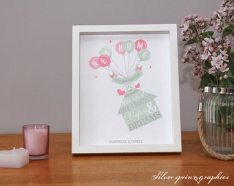 New home - house floating print with balloon themed message