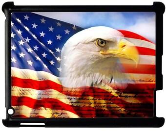 Waving American Flag and Eagle iPad 2 3 4 Hard Case Cover Black