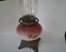 Victorian hurricane lamp and glass chimney