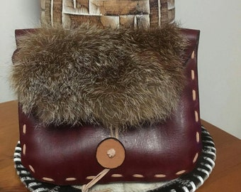 Viking Leather and fox fur medieval belt pouch handmade button