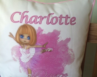 Personalised ballet dancer cushion cover.