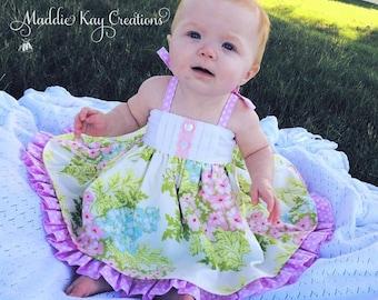 Floral Lauren Dress or Tunic. Baby dress, toddler dress, girls dress, cotton, ruffle, MADE TO ORDER