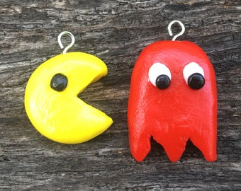 Pacman And Ghost Polymer Clay Charms