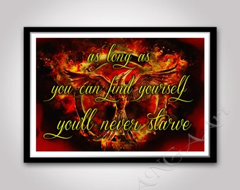The Hunger Games, Quote, As long as you can find yourself..Download, TV Series, Digital Print, Wall print, Watercolor art, Watercolor poster
