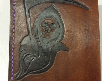 Reaper Engraved Saddle Leather Wallet