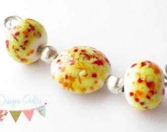 Lampwork beads, summer, bright, lentil, beads, glass