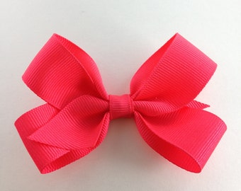 Hairbow -3 1/2 inch solid color girls hair bow, hairbow on Alligator clip can attach to headband. Toddler, baby bows