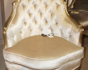 Extraordinary Silver Leaf French Louis XV Maison Jansen Style Bergere Chair